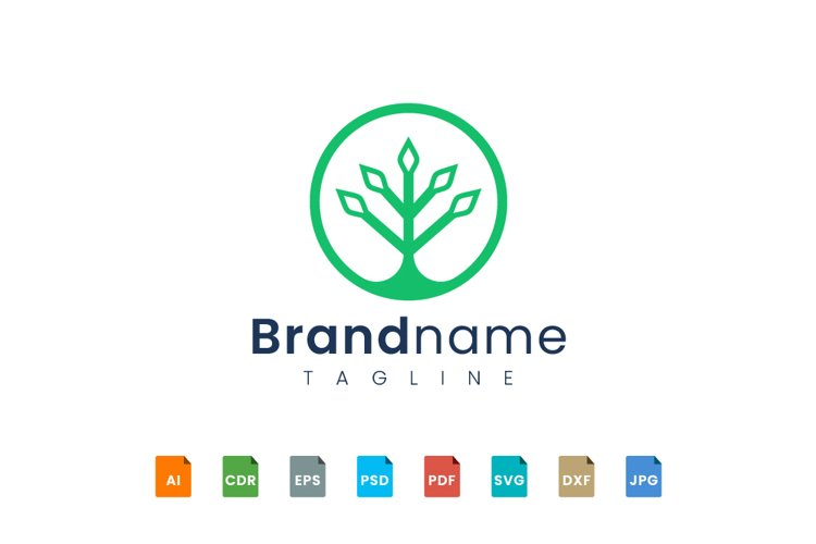 Circle plant logo template example image 1