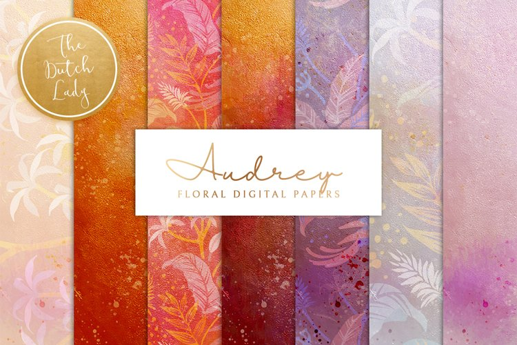 Floral Backgrounds & Paper Designs - Audrey example image 1