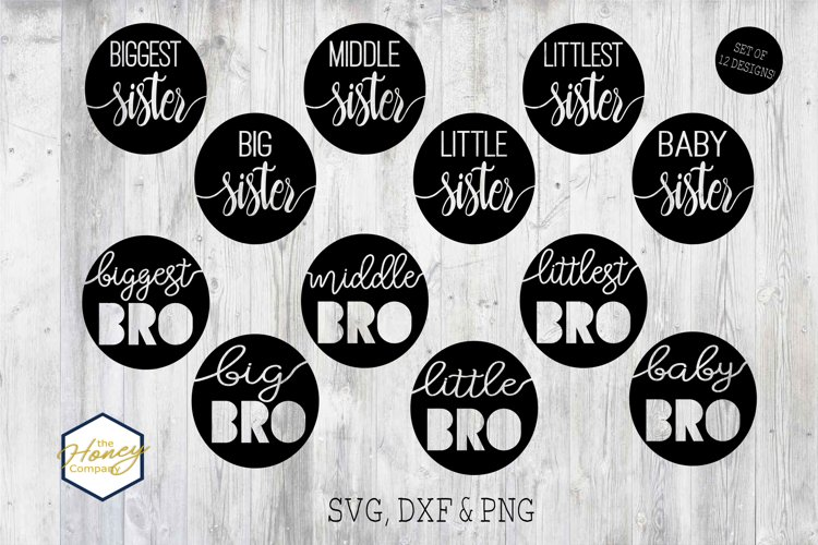 Sister Brother Big Little Bundle SVG PNG DXF Cutting File example image 1