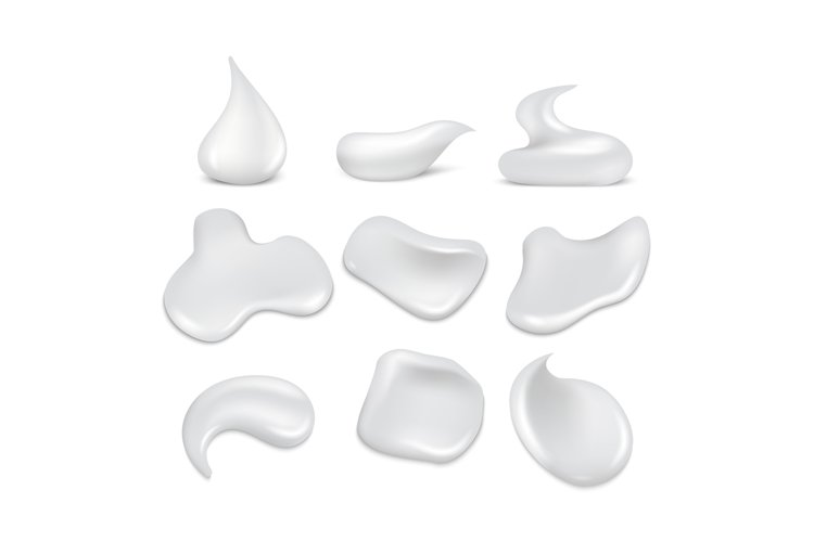 White fresh cream strokes, mousse, foam, froth vector set example image 1