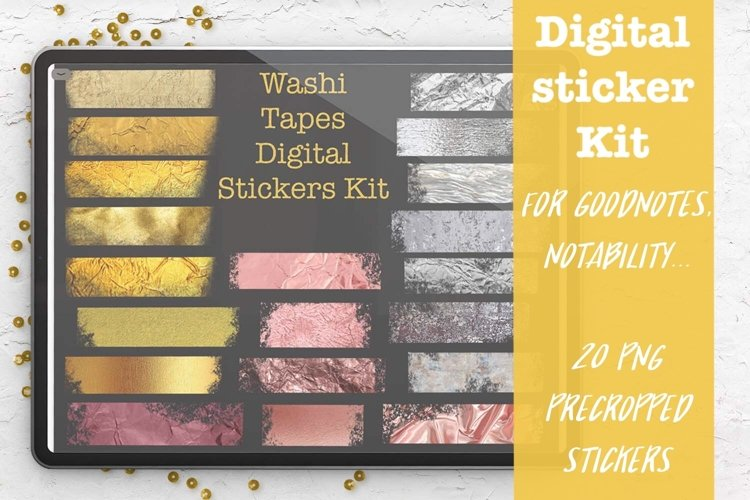 Washi Tapes. Digital planner sticker Kit for Goodnotes example image 1