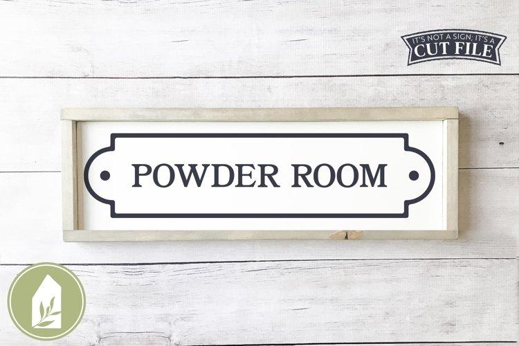 Vintage Powder Room SVG, Bathroom Sign SVG example image 1