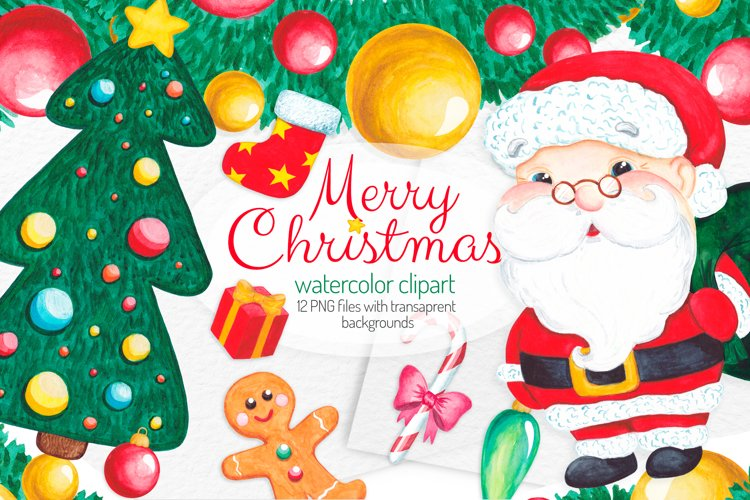Christmas clipart set Watercolor Christmas elements example image 1