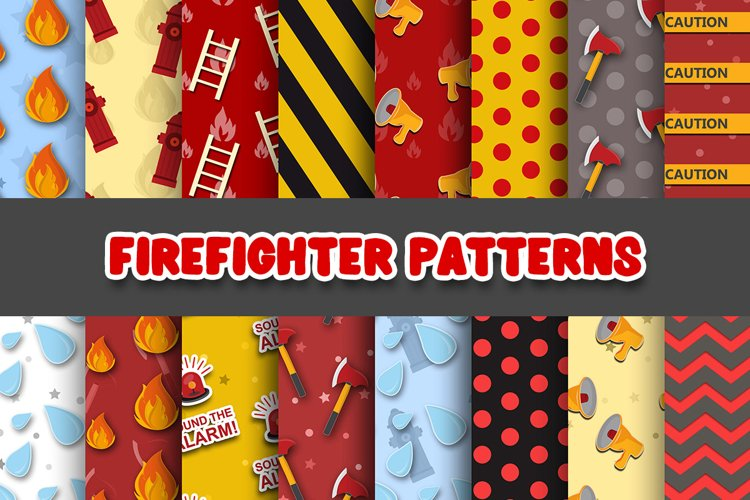 Firefighter Digital Paper Patterns