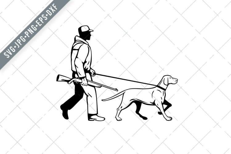 Bird Hunter and Hungarian Pointer Dog Retro SVG example image 1
