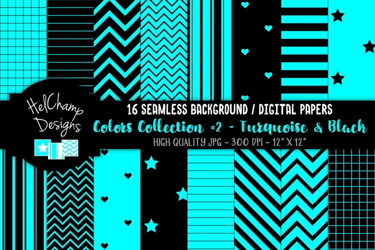 16 seamless Digital Papers - Turquoise and Black - HC126