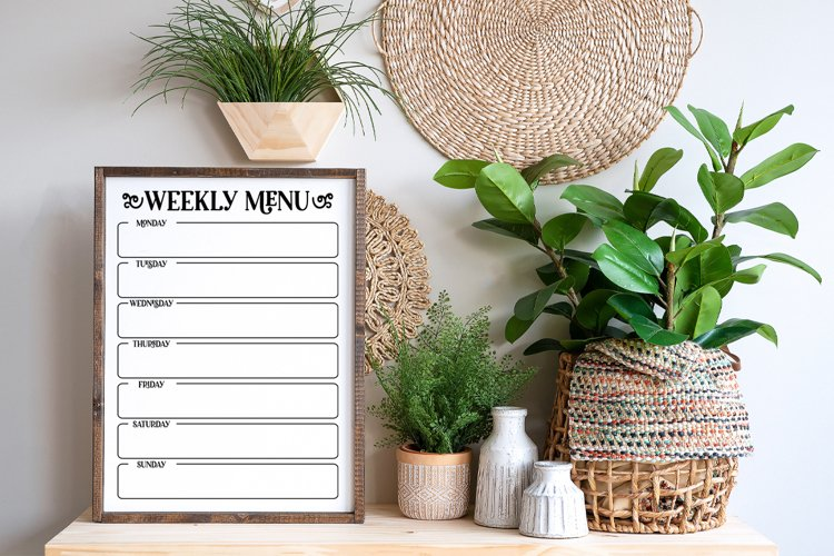 Weekly Menu Planner SVG, Weekly Menu Printable example 2