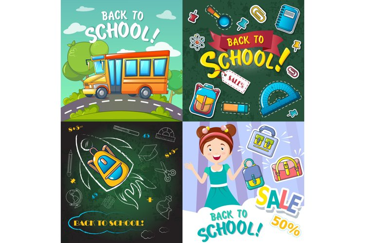 Back to school desk banner set, cartoon style example image 1
