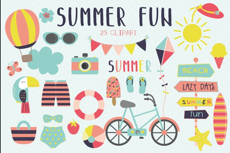 Summer fun clipart and paper set example image 1