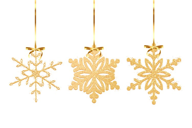 Set of Gold glitter texture snowflake isolated