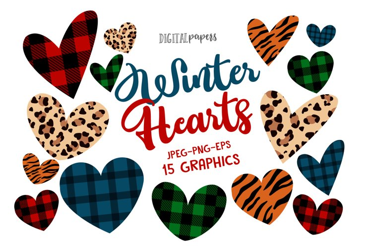 Winter Hearts Clipart, Animal Print, Valentines Day