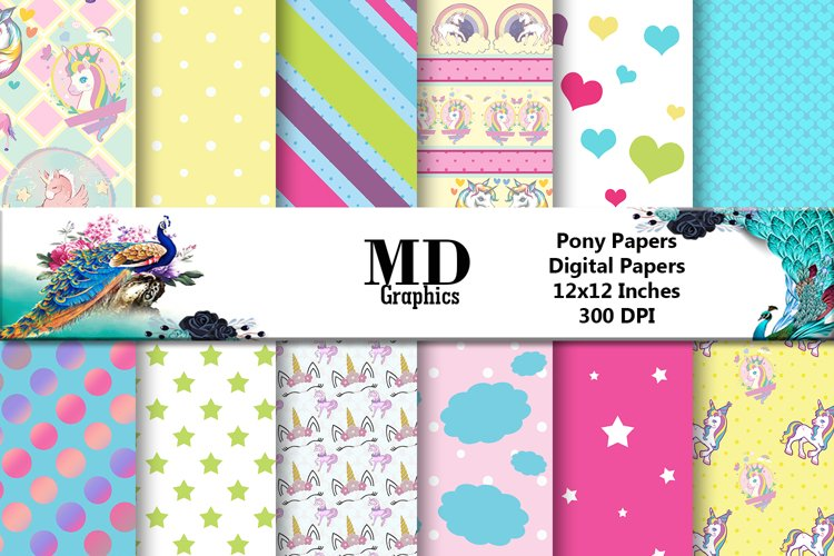 Unicorn Pony Digital paper, Scrapbook Papers, Digital Papers example image 1