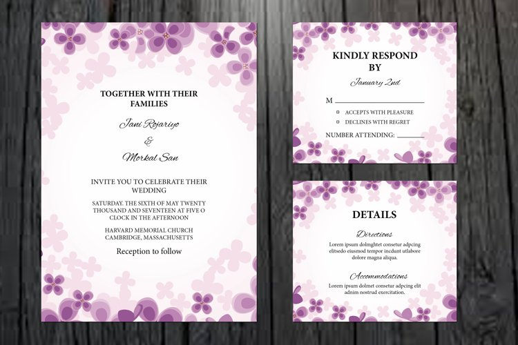 Floral Wedding Invitation Template, example image 1