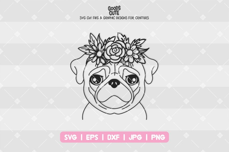 Pug With Flower Crown - SVG example image 1