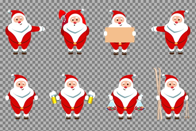 Santa Claus Christmas character set of 8 illustrations example 4