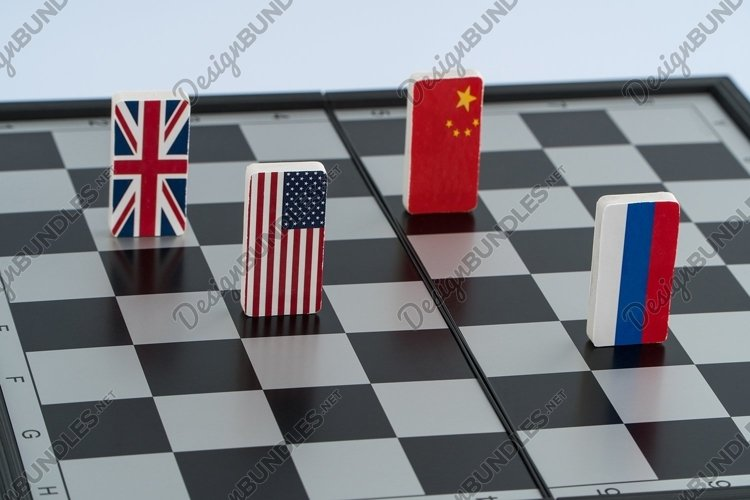 Flag of Russia, USA, China and England on the chessboard example image 1