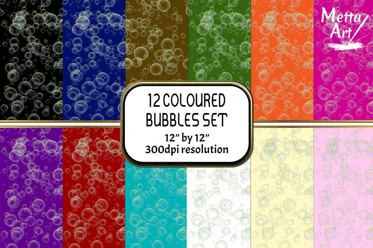 """12 Designs - 12"""" x 12"""" - Bubbles Set example image 1"""
