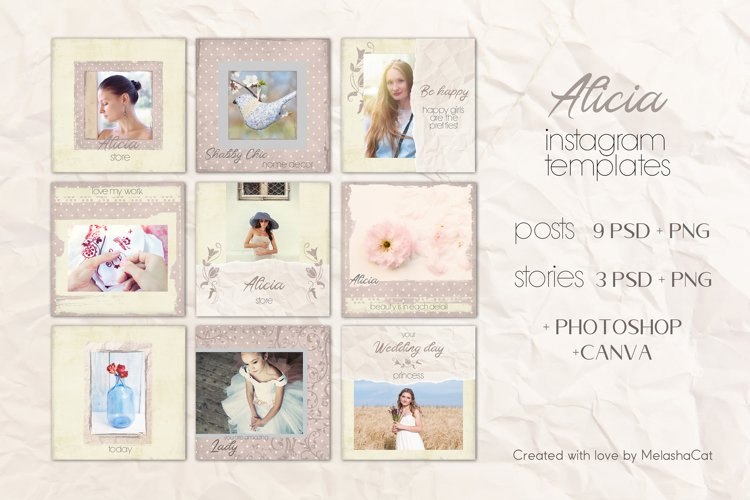 Alicia Instagram Templates - 9 posts and 3 stories. PSD&PNG example image 1