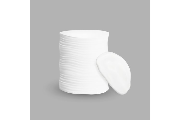 Cotton Pad Stack Cleaning Face Cosmetic Vector example image 1