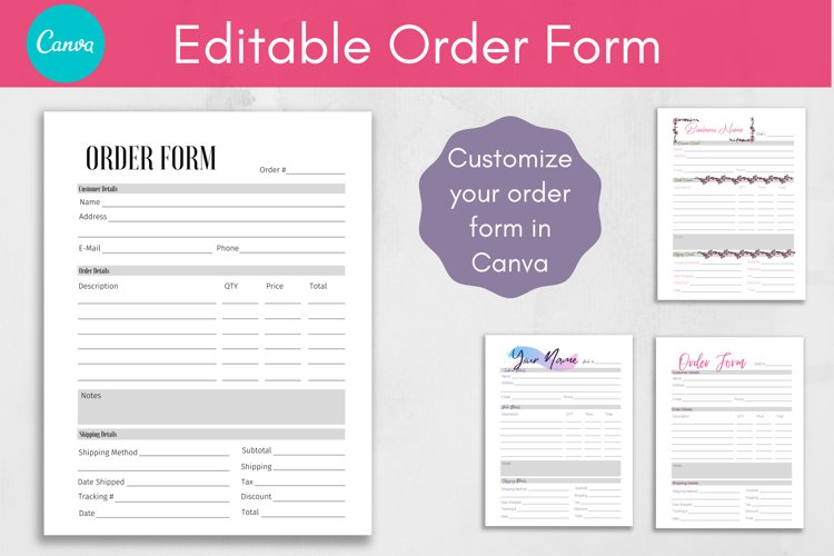 Canva Template, Editable Order Form