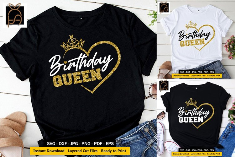 Birthday Queen - Birthday Girl - Crown SVG DXF EPS PNG Cut example image 1