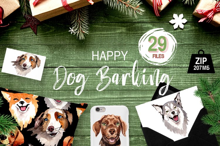 Dogs barking new year PNG watercolor set