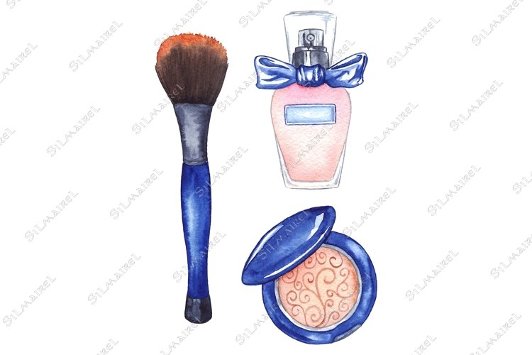 Watercolor cosmetics make up set isolated example image 1