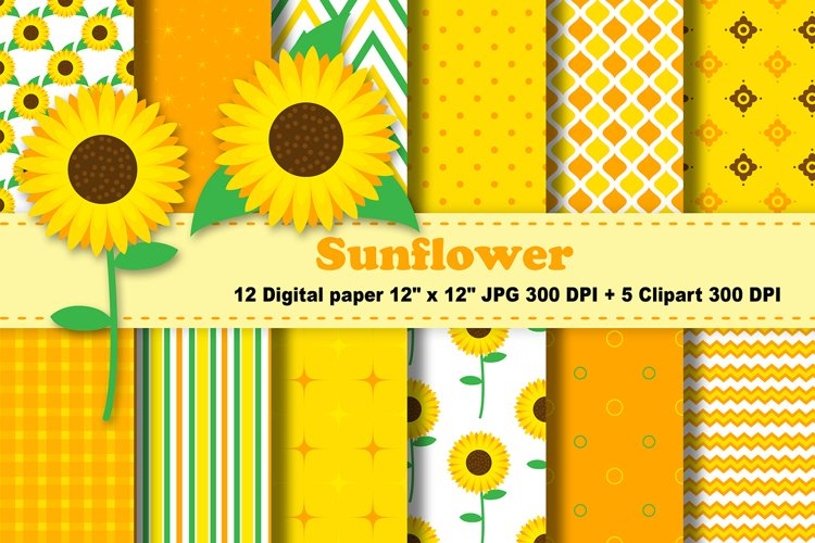 Sunflowers Digital Paper, Floral Background. example image 1