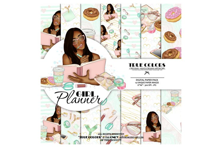 African American Planner Girl African American Digital Paper example image 1