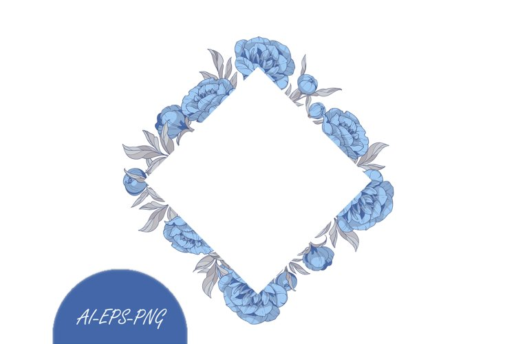Vector Clipart frame with blue peonies flowers example image 1