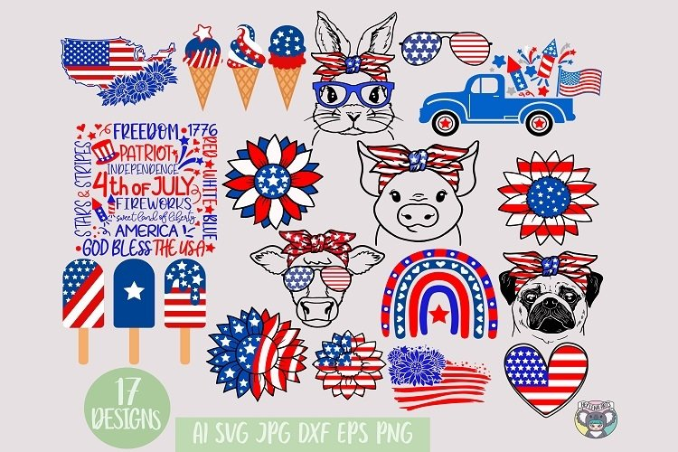 4th of July svg, Sunflower, American Flag, Patriotic Cow svg