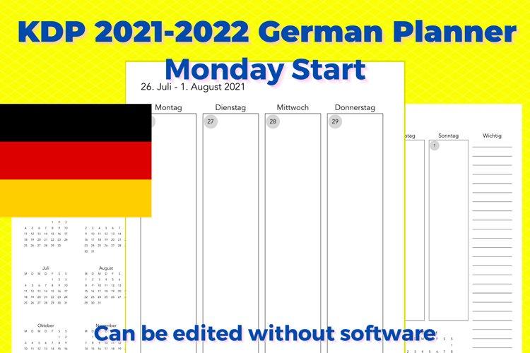 KDP 2021-2022 German Vertical Planner, Monday Start