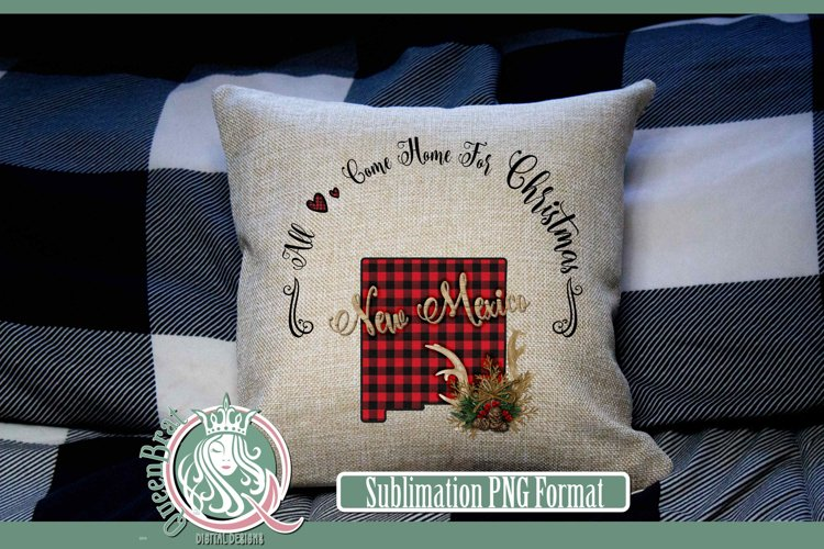 Sublimation   New Mexico Plaid Christmas State example image 1