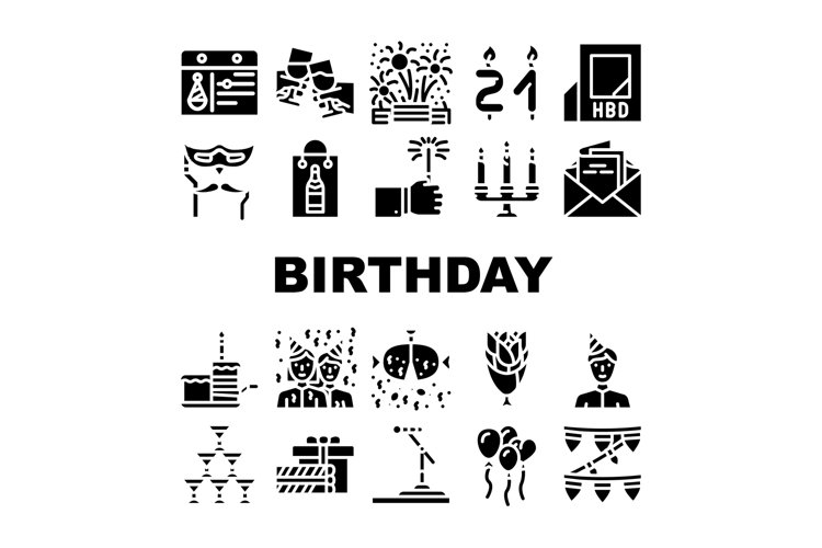 Birthday Event Party Collection Icons Set Vector example image 1
