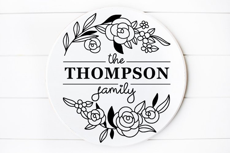 Family Monogram Name sign svg Floral example image 1