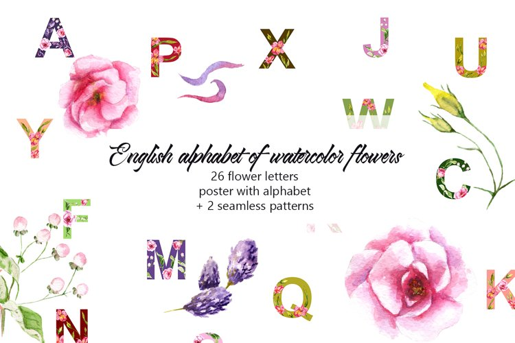 Alphabet of watercolor flowers example image 1
