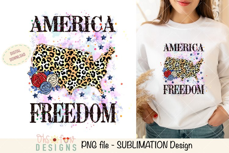 Sublimation US map animal print | red white and blue glitter example image 1