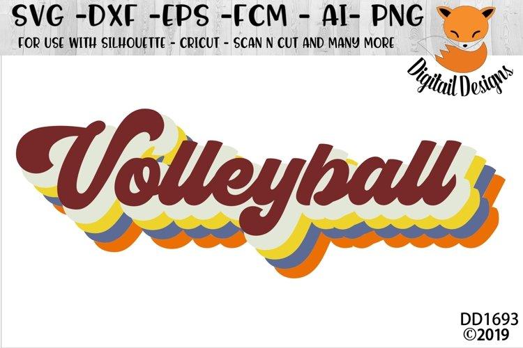 Retro Style Volleyball Word Art SVG