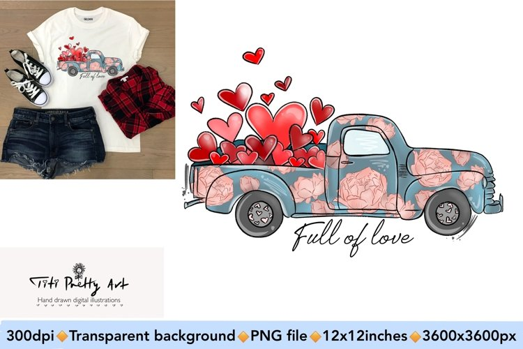 Valentine Truck Sublimation Design PNG, Valentines Day