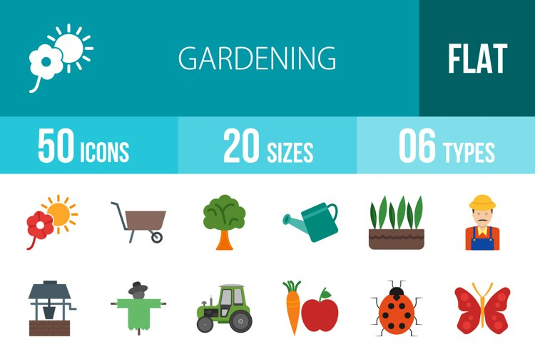 50 Gardening Flat Multicolor Icons example image 1