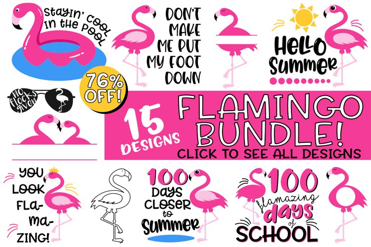 Flamingo SVG Bundle - Summer Fun, School, and More Clipart