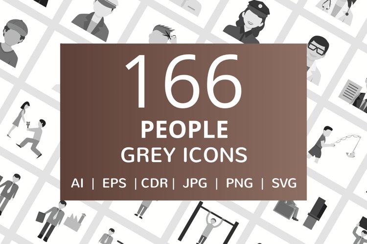 166 People Flat Greyscale Icons example image 1