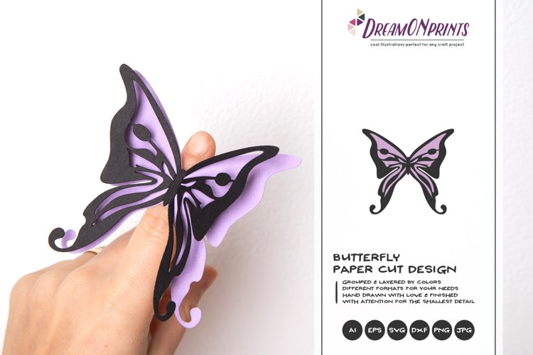 Butterfly Paper Cut SVG | Layered Butterfly SVG example