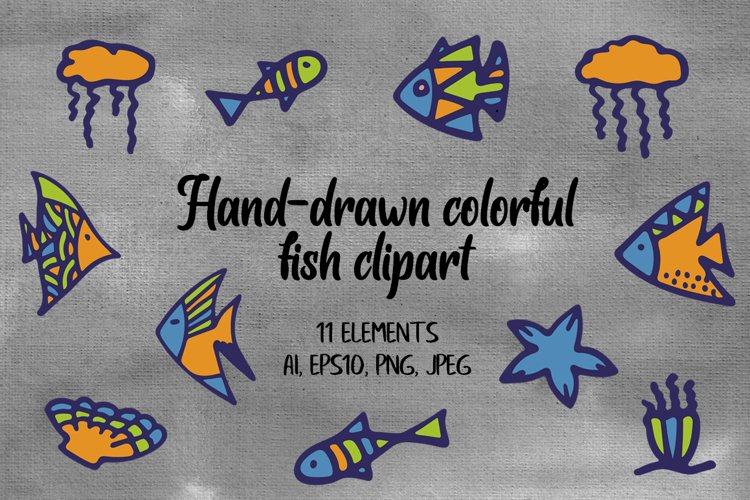 Hand-Drawn Colorful Fish Clipart.