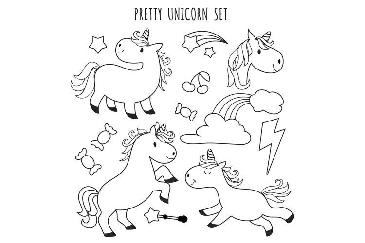 Kids Coloring Page. Unicorn Set For Coloring Book (908649) Illustrations  Design Bundles