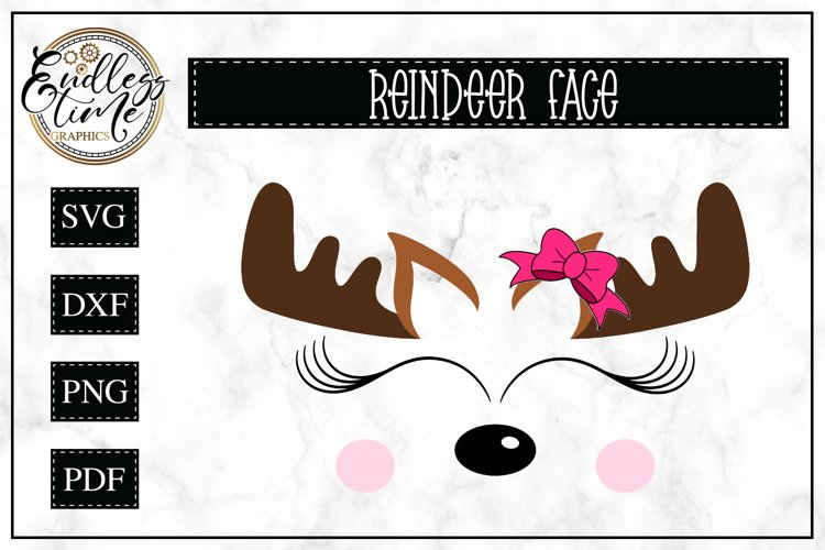 Cute Reindeer Face | Christmas SVG example image 1