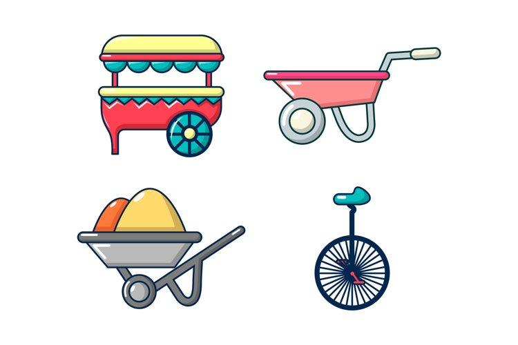 One wheel cart icon set, cartoon style example image 1