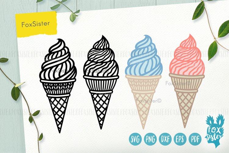 Ice cream svg, desserts svg, Ice Cream Cone svg dxf example image 1
