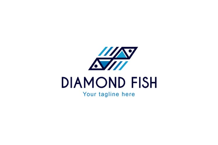 Diamond Fish - Abstract Geometrical Fishes Stock Logo example image 1