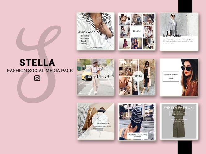 Fashion Social Media Pack, Social Media Bundle, 20 Square Social Media Templates, Instagram Template Pack, Social Media Graphics Pack example image 1